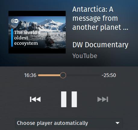 Plasma Desktop's Media Player widget displaying information supplied by cast_control.