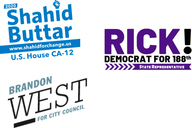 Logos for campaigns that are using MapBlue: Shahid Buttar, U.S. House CA-12, Brandon West for City Council, Rick! Democrat for 188th State Representative