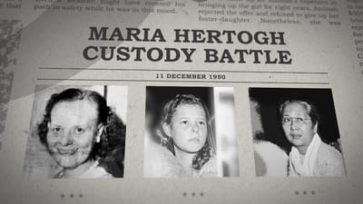 A newspaper mockup with the title: Maria Hertogh Custody Battle. Three portrait photographs of 2 women and a young girl are below the title.