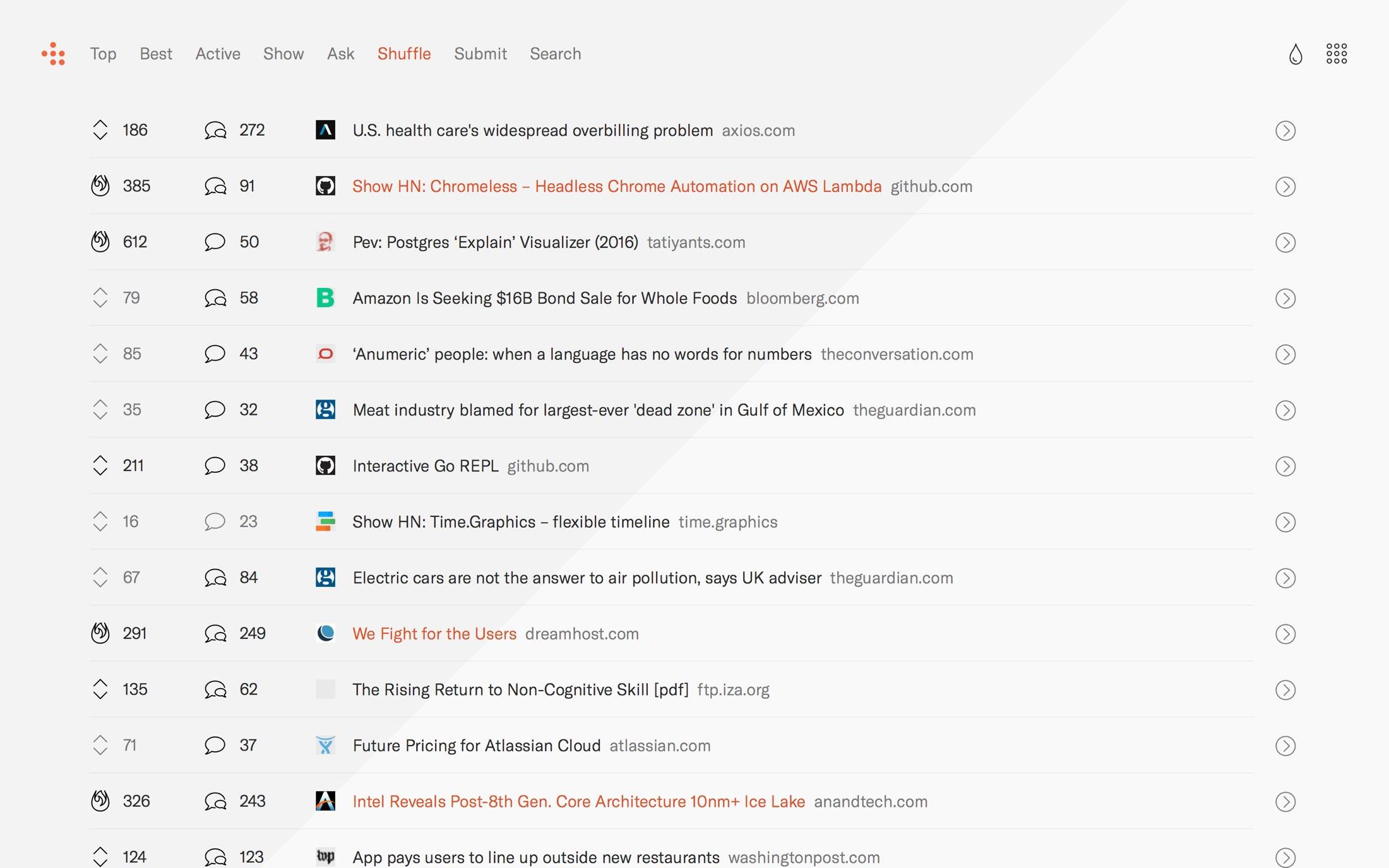 HN reader index page showing recent posts