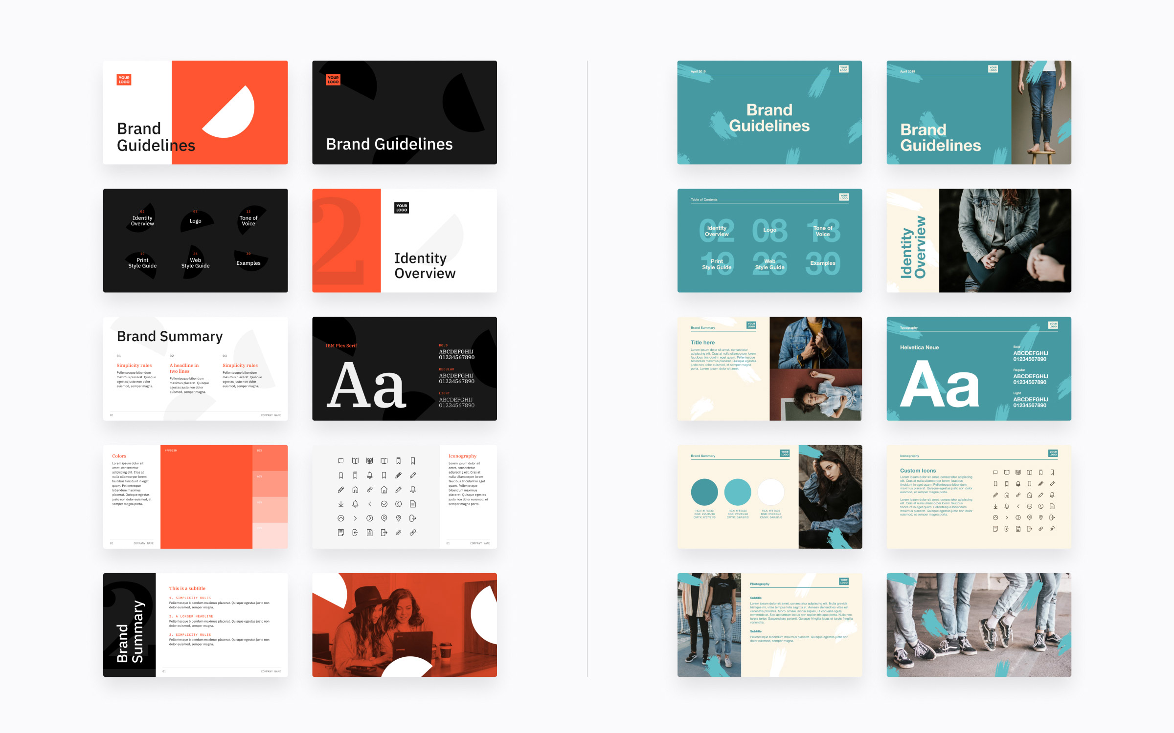 directions for brand guidelines template design