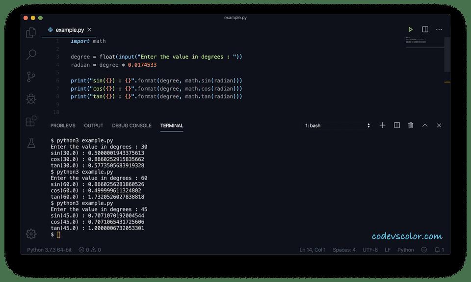Python trigonometric functions scaled