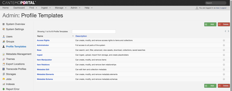 Cantemo Portal Manage Control Access