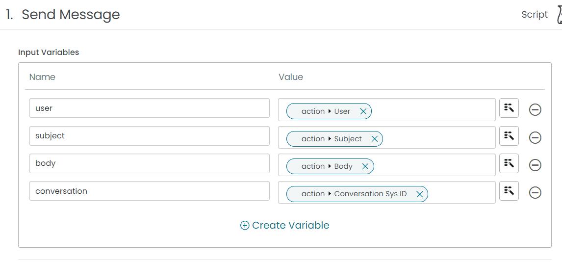ServiceNow Flow Action Connect Chat Script Input Variables