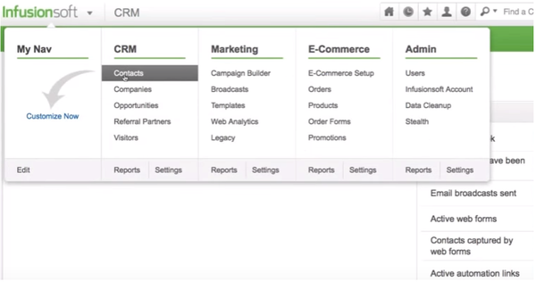 Screenshot Infusionsoft CRM