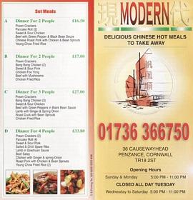 modern chinese takeaway menu penzance