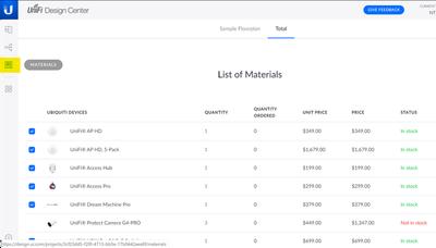 Shopping list from Unifi Design Center