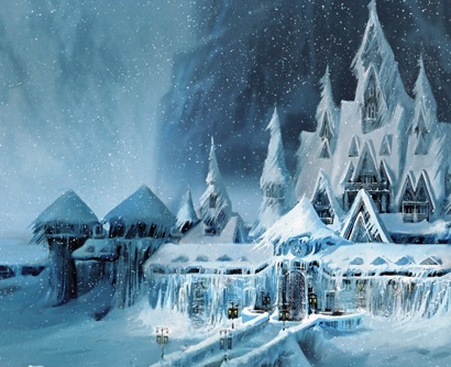 Arendelle in deep snow, Frozen concept art by James Finch