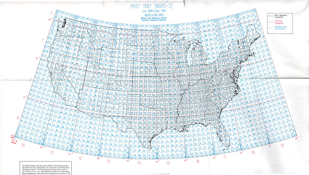 MGRS grid coverage in the US