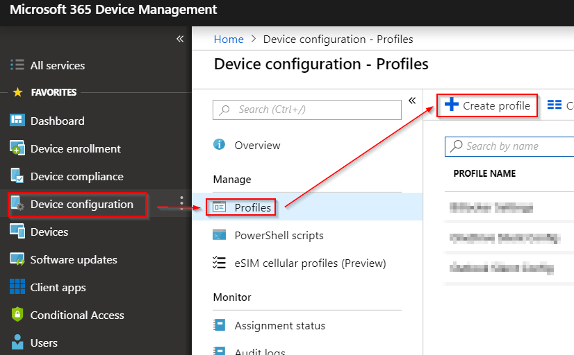Image displaying how to add a new policy in Intune