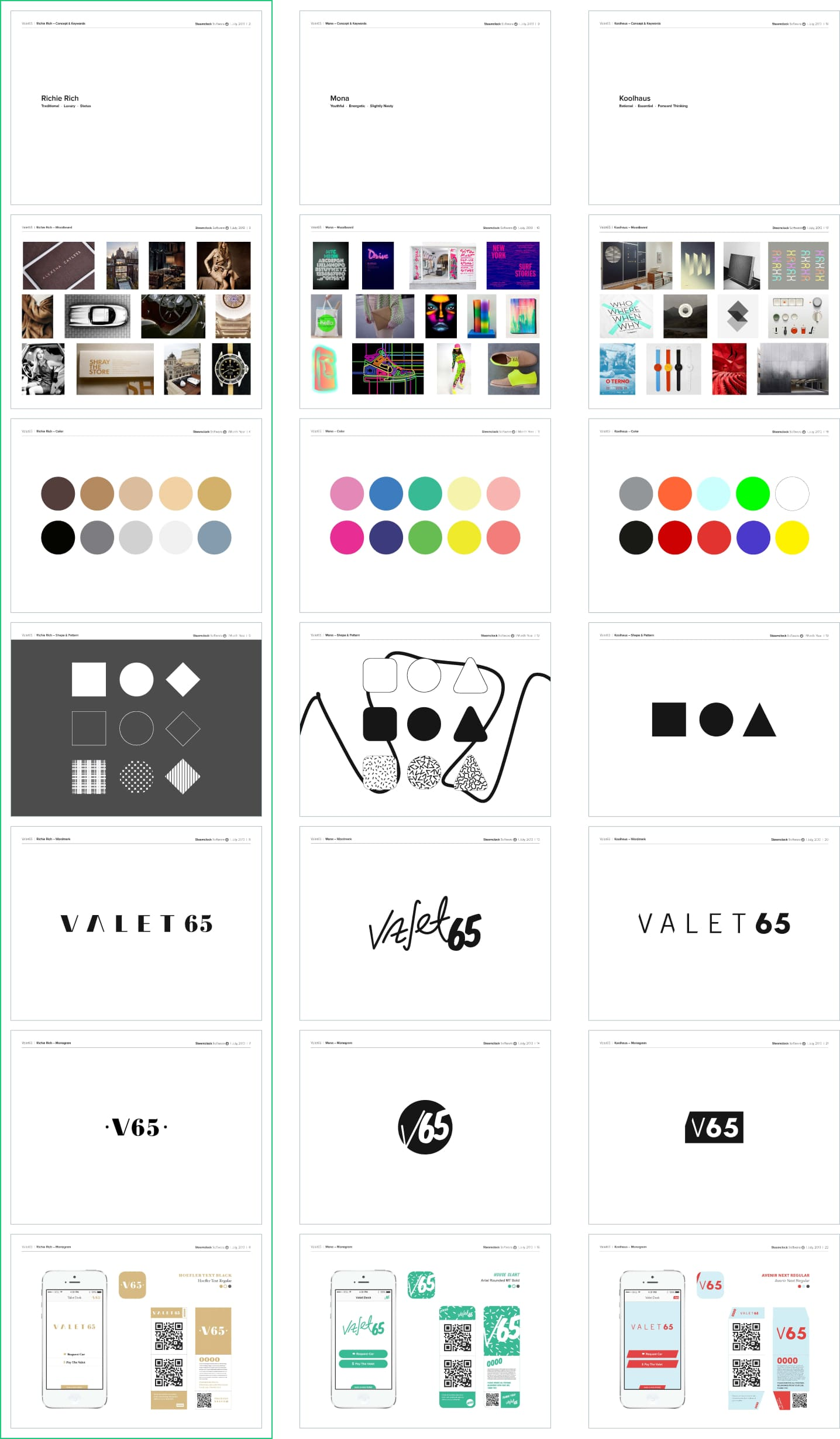 The 3 identity and branding options I developed for Valet65 to choose from.