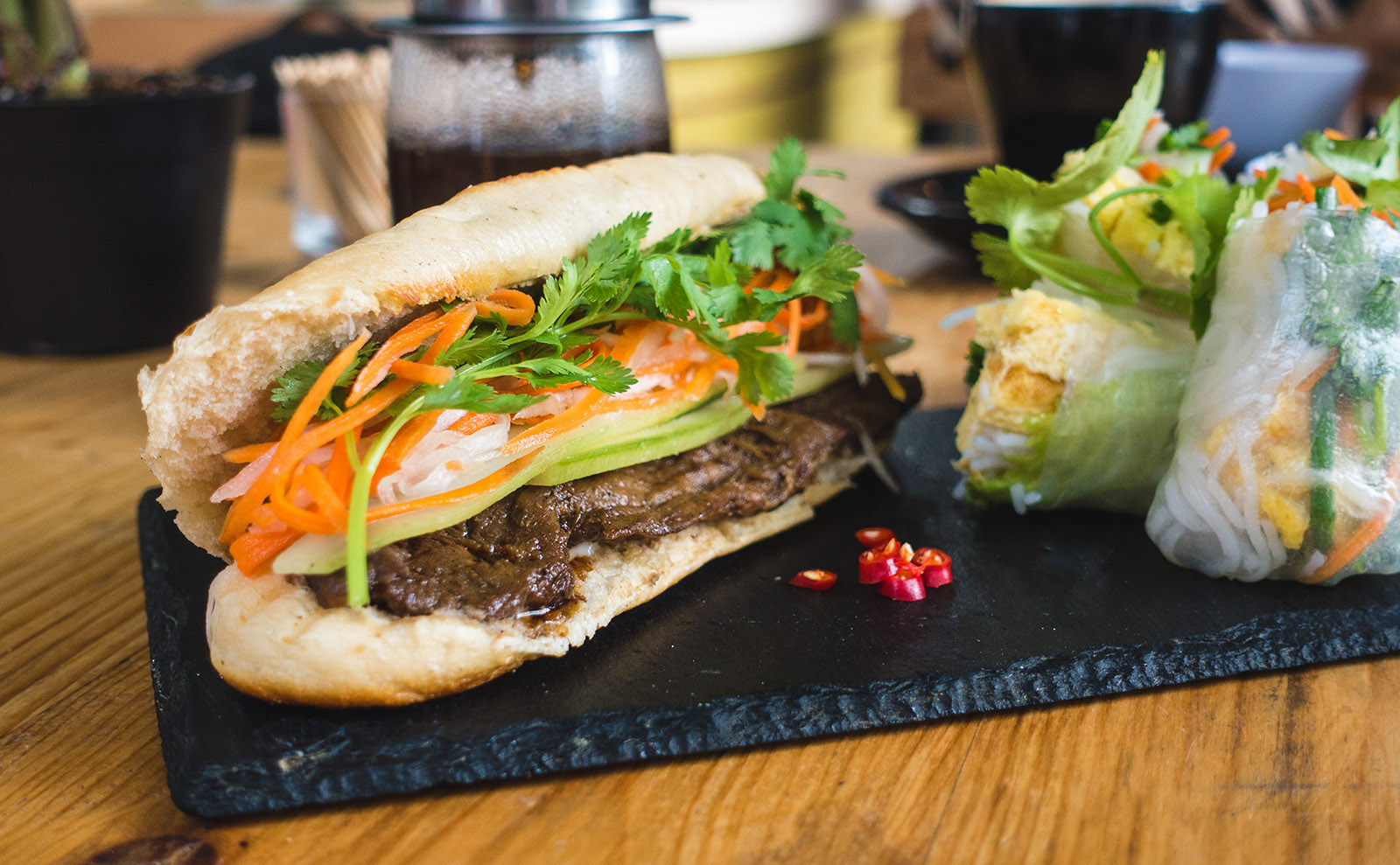 banh mi sandwich on a wooden table