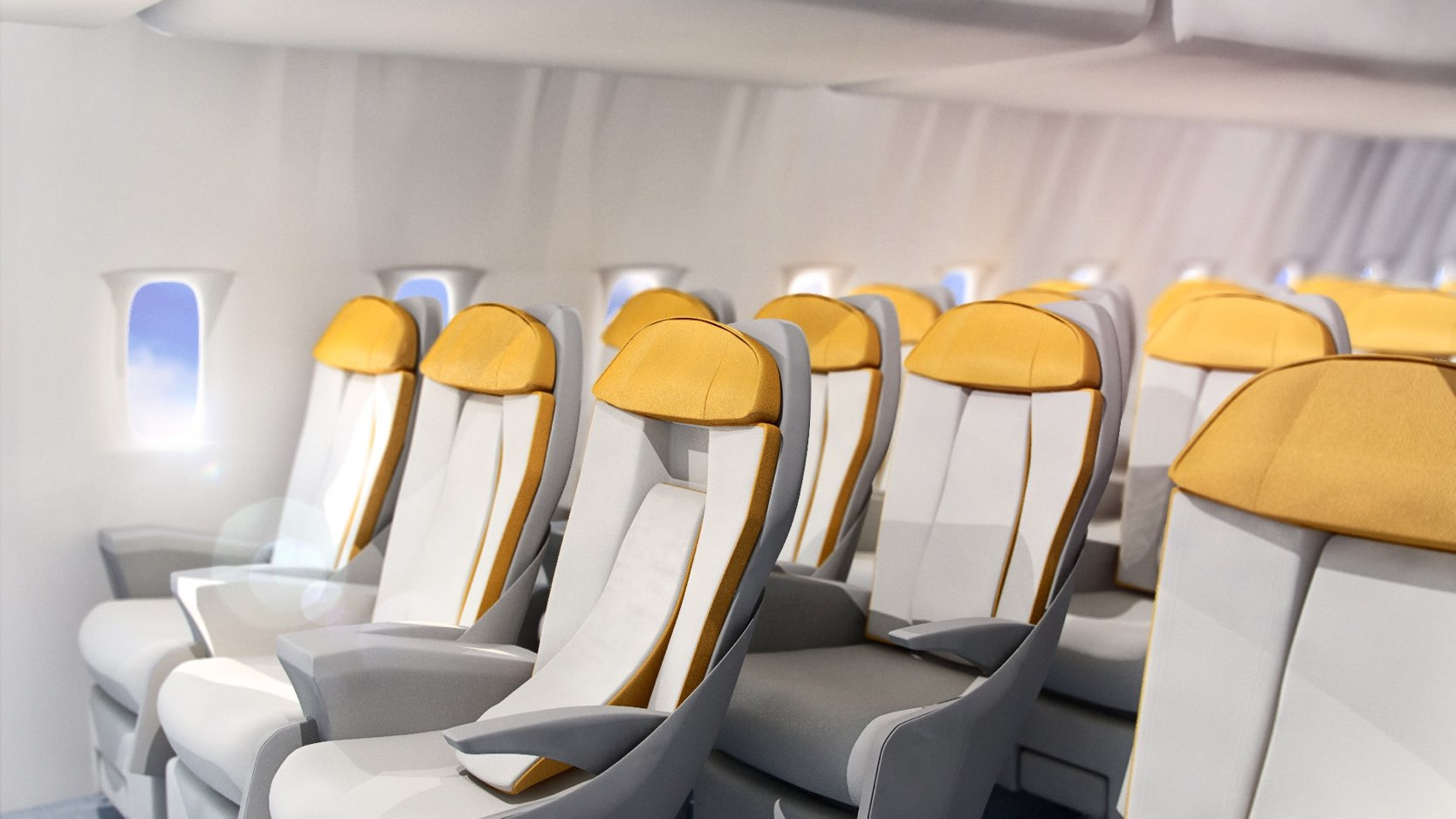 Inside of aircraft with premium economy class seats, one with moved mid-piece