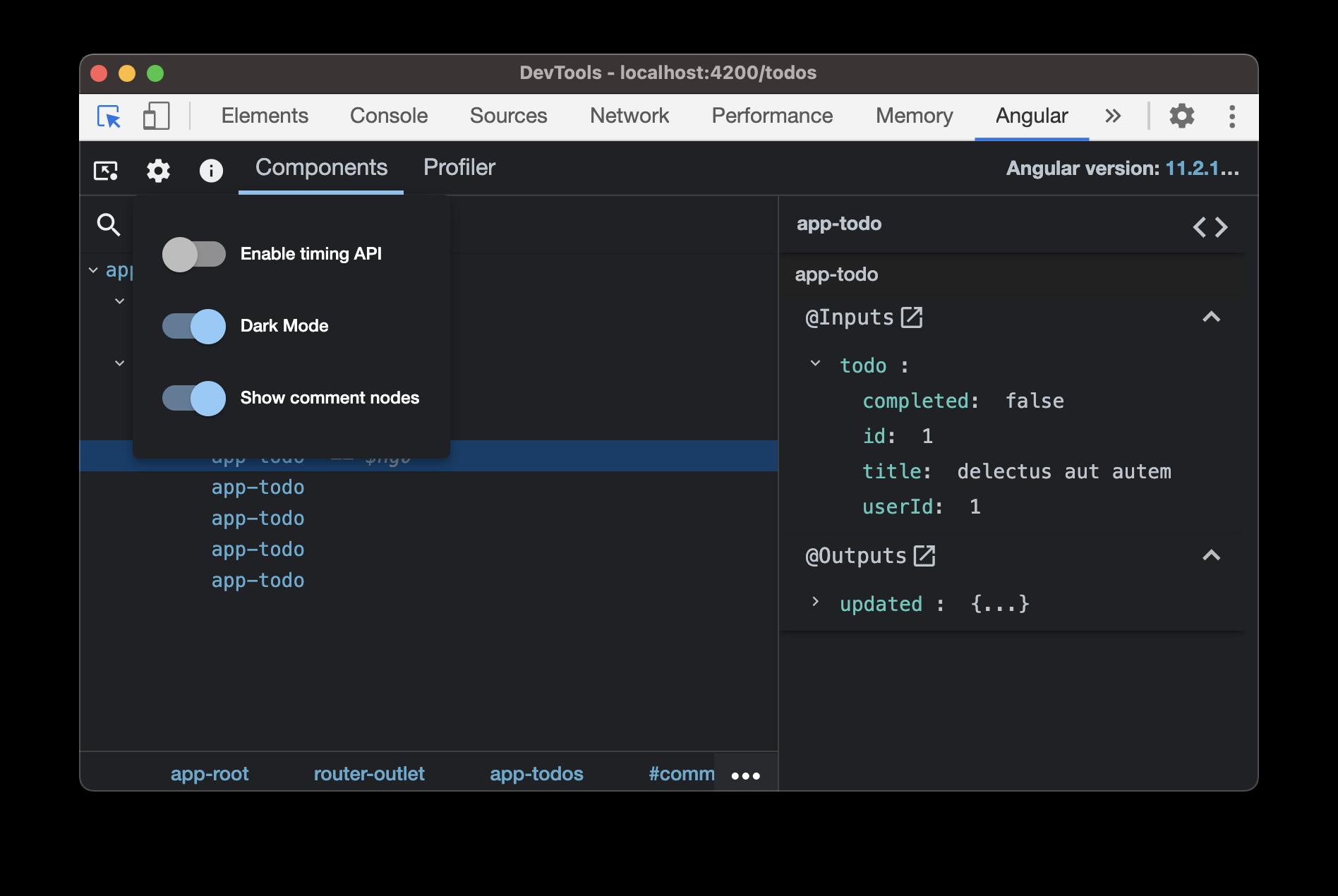 Angular dev tools options menu