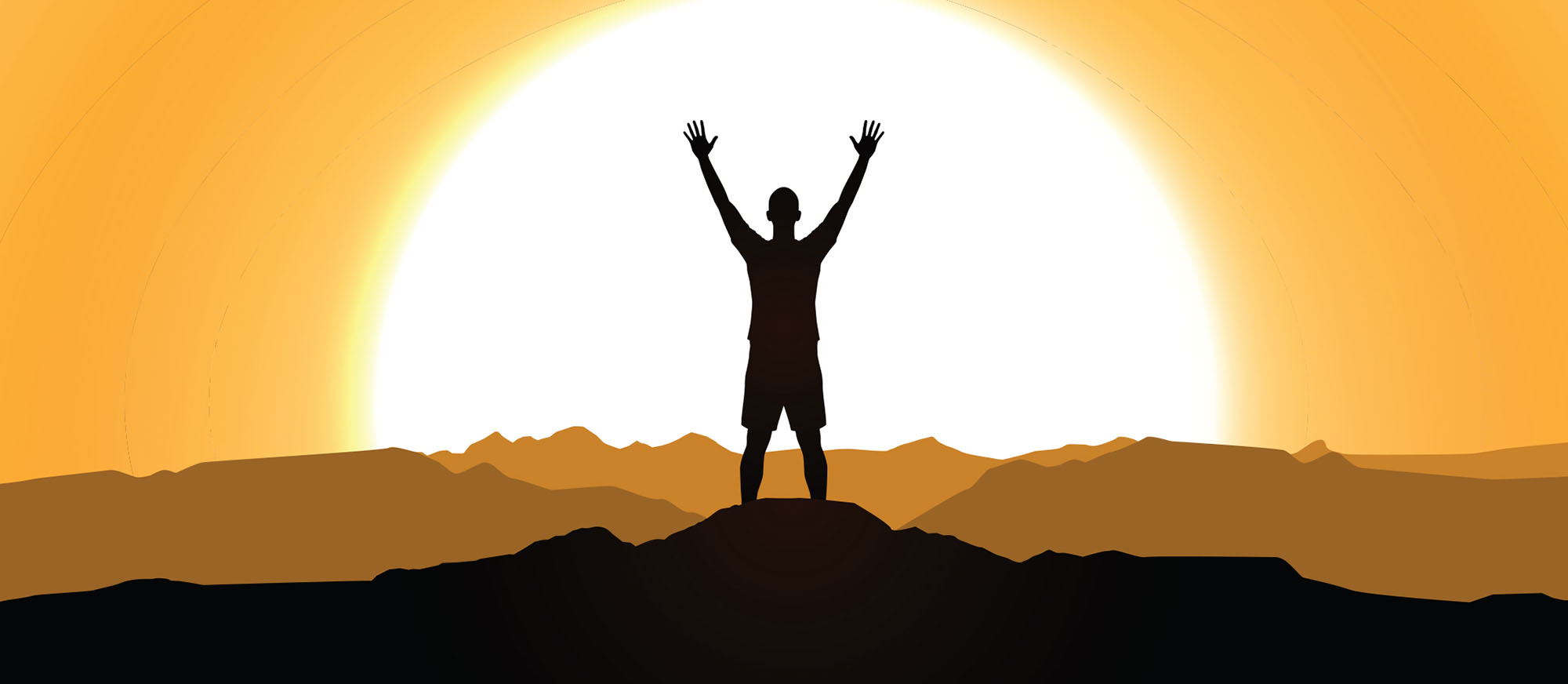 person standing with arms raised and sunrise in the background