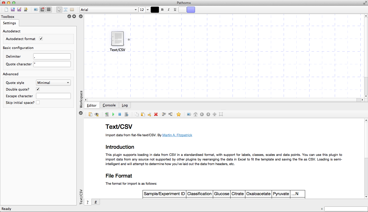 The Text/CSV tool showing the default startup state.