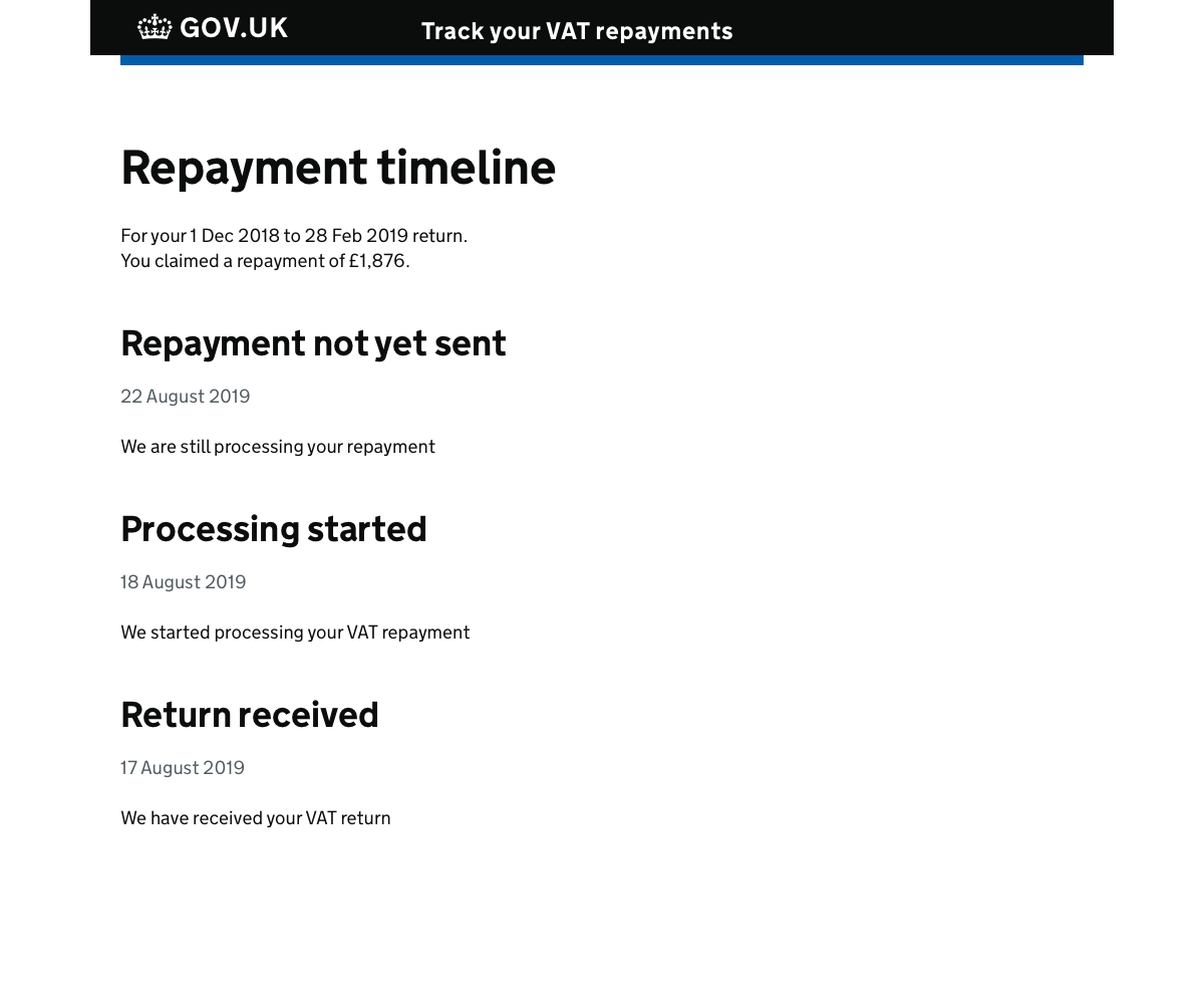 A screenshot of a GOV.UK page showing a text-only timeline