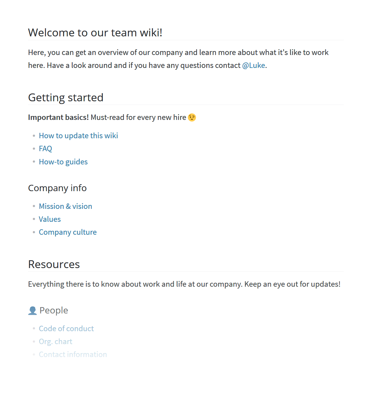 Corporate wiki welcome page