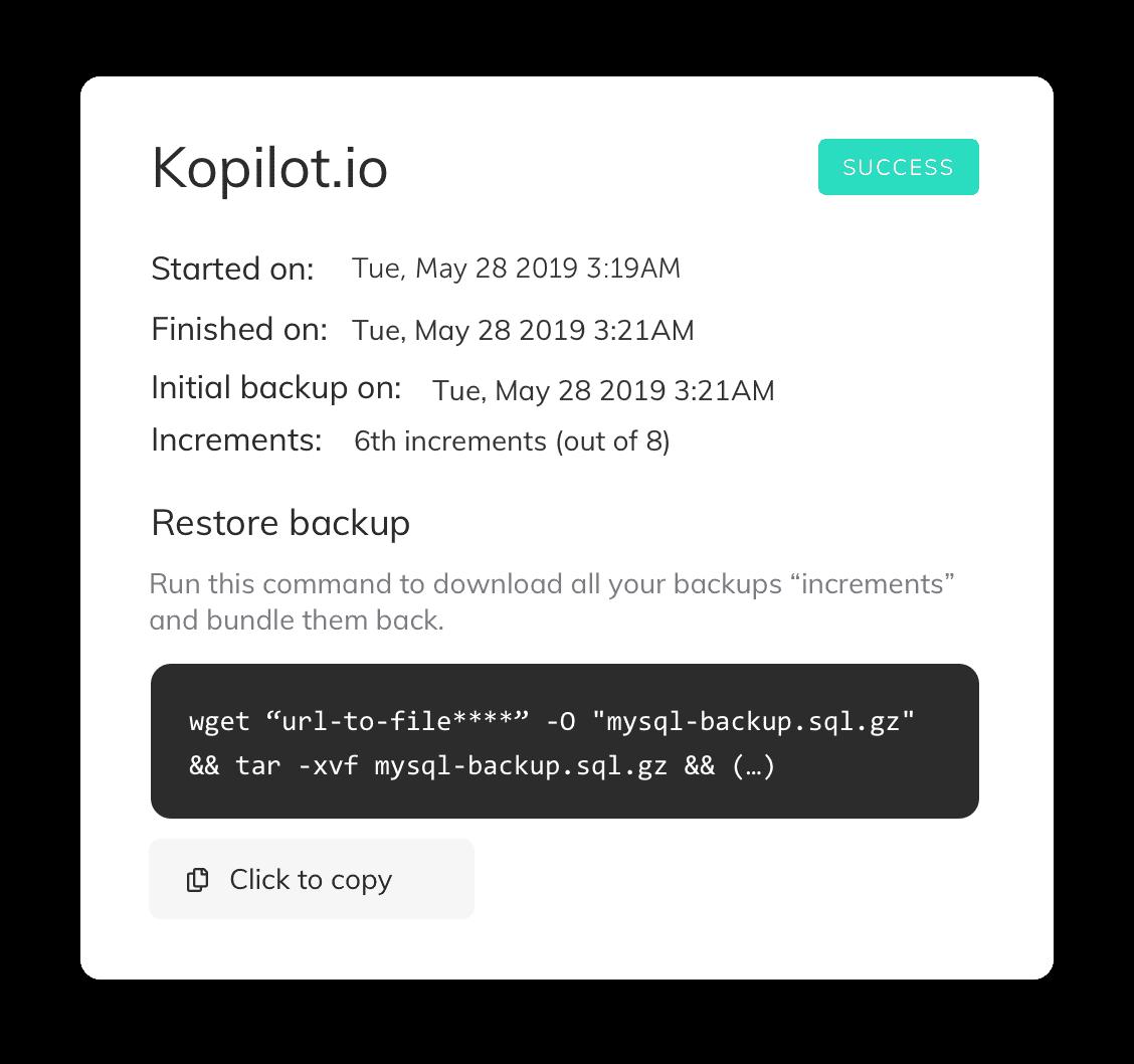 SimpleBackups restore incremental backup