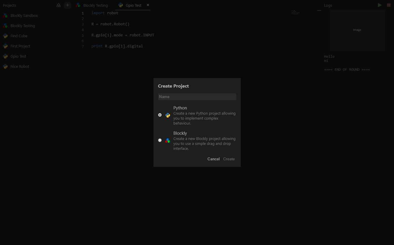 Create Project Interface