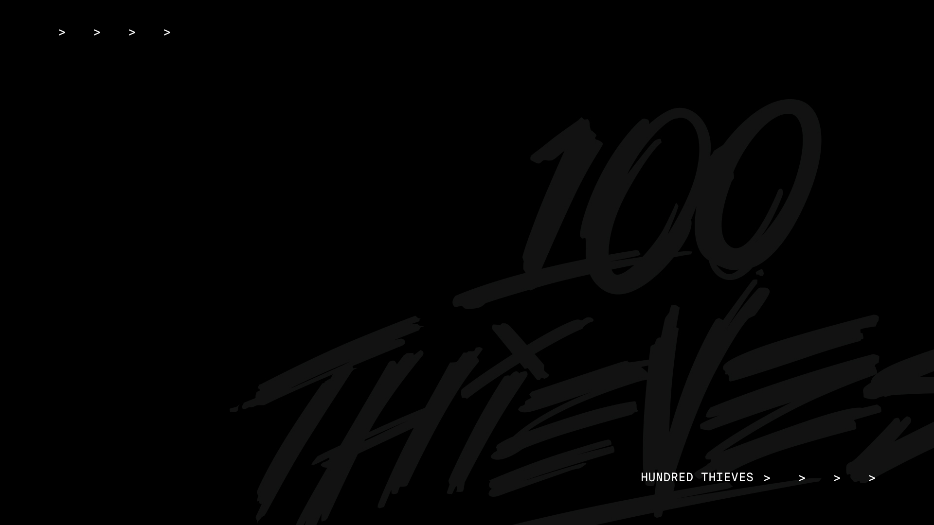 100 Thieves logo muted over black background