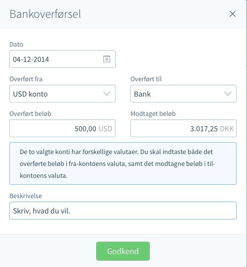angiv bankkonto