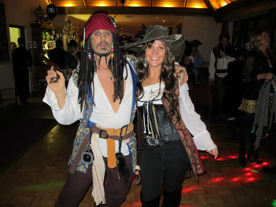 Sherry (right) in her custom made birthday outfit.