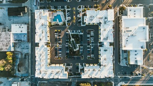 drone view car park construction site
