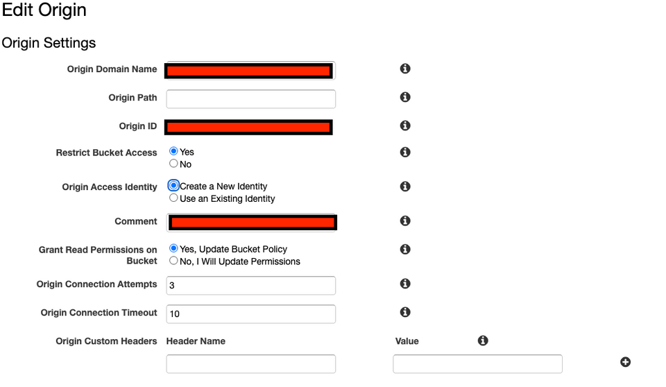 'Screenshot of CloudFront origin policy settings'