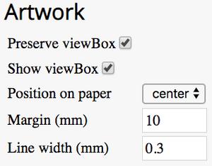 screenshot of artwork settings
