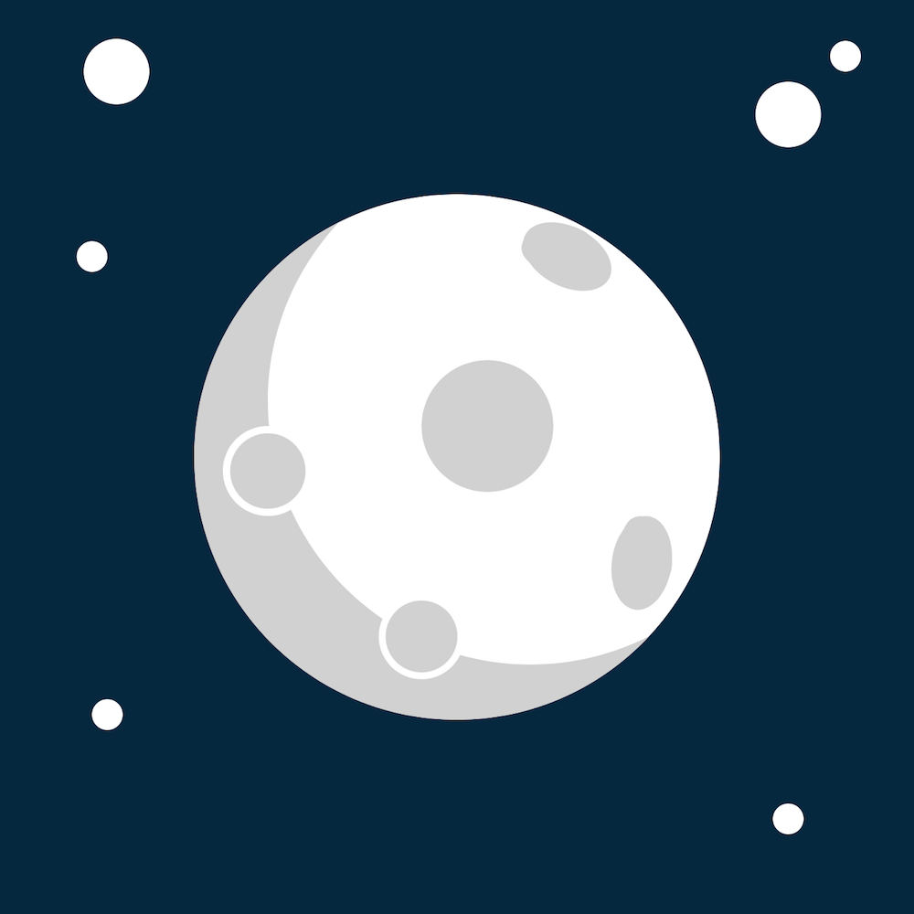 A flat drawing of the moon, with gray circles throughout representing craters, and a gray shadow along the left side. The background is a navy blue color with white circles representing stars.