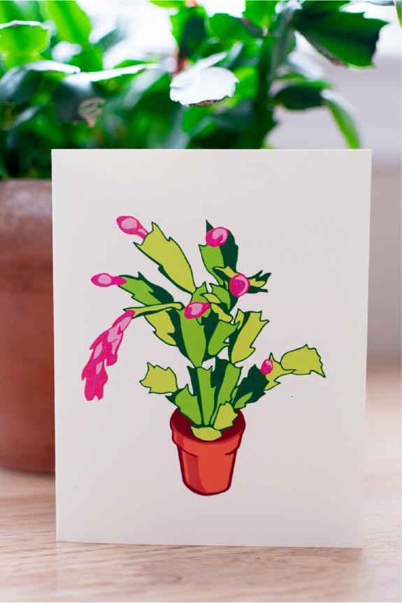 Christmas Cactus A3 card