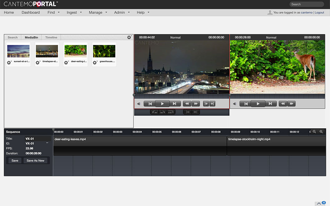Rough Cut Editor Cantemo Portal App