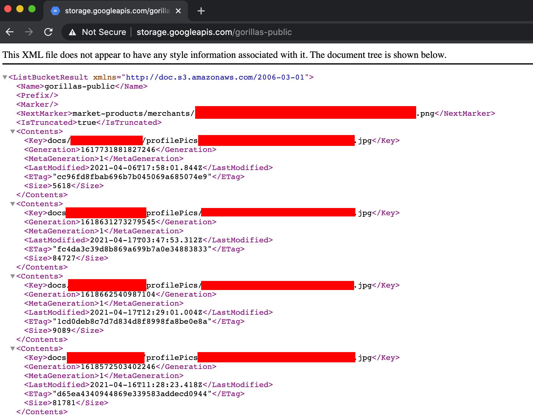 Screenshot der XML-Antwort, welche alle im Bucket enthaltene Dateien auflistet