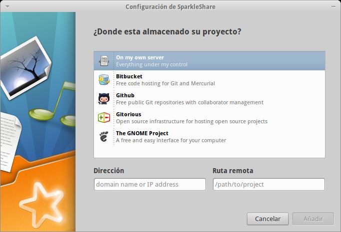Configuración de un nuevo repositorio en SparkleShare