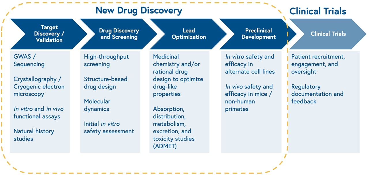 Chart explaining the process of drug discovery