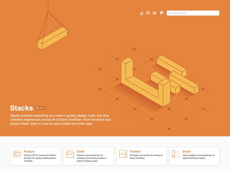 Stack Overflow design system homepage.