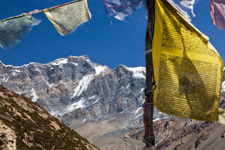 Chulu West Peak and Prayer Flags