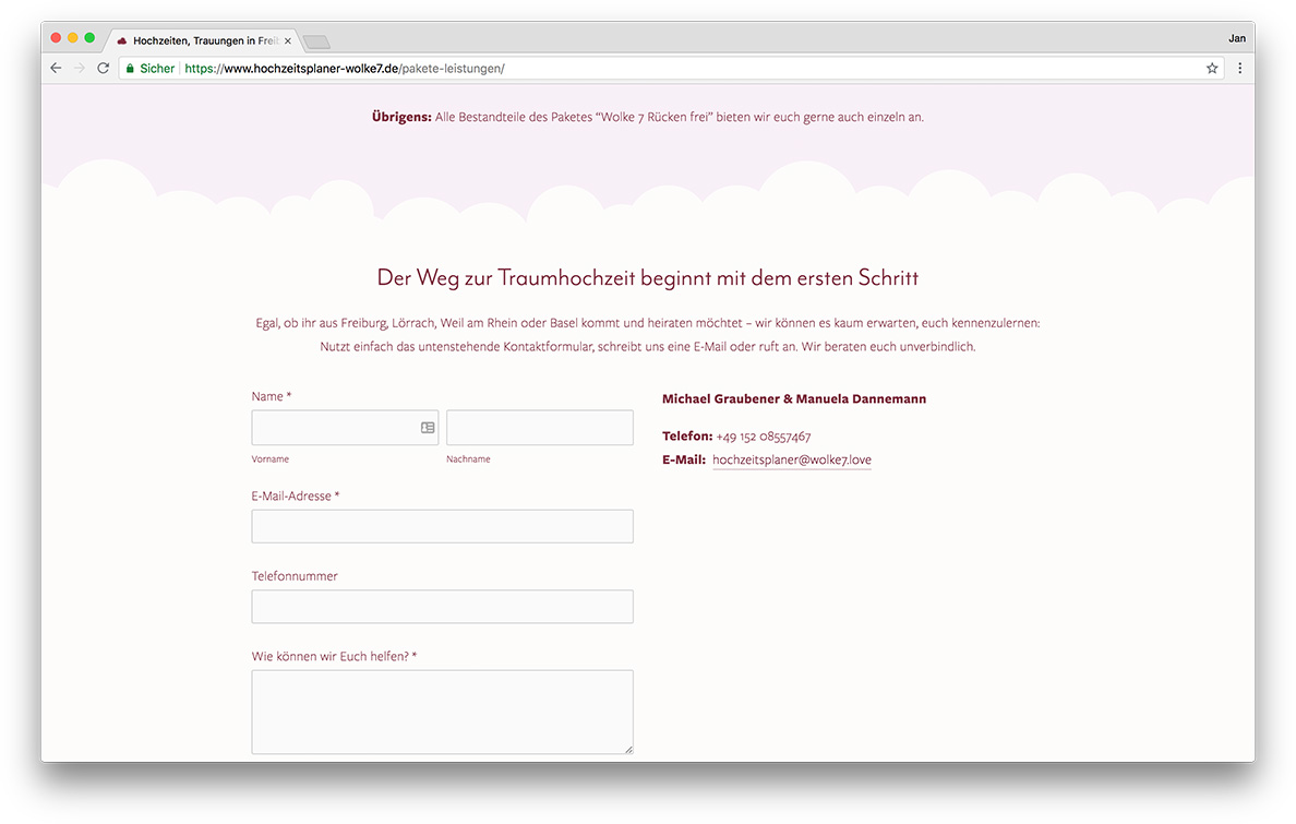 KreativBomber Onlineagentur Freiburg - Hochzeitsplaner Wolke 7 Freiburg Kontakt