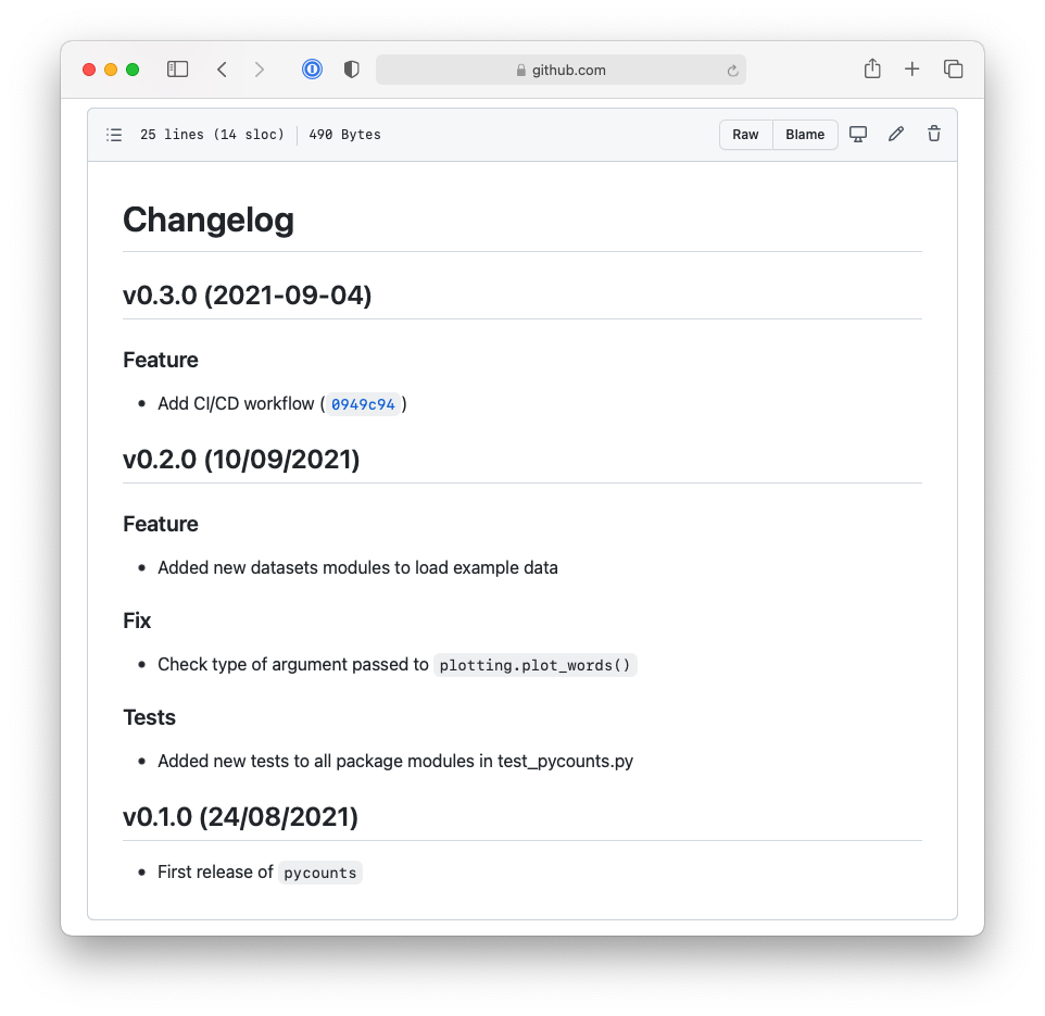 The Python semantic release tool automatically updated the changelog and added an entry for v0.3.0 based on commit messages.