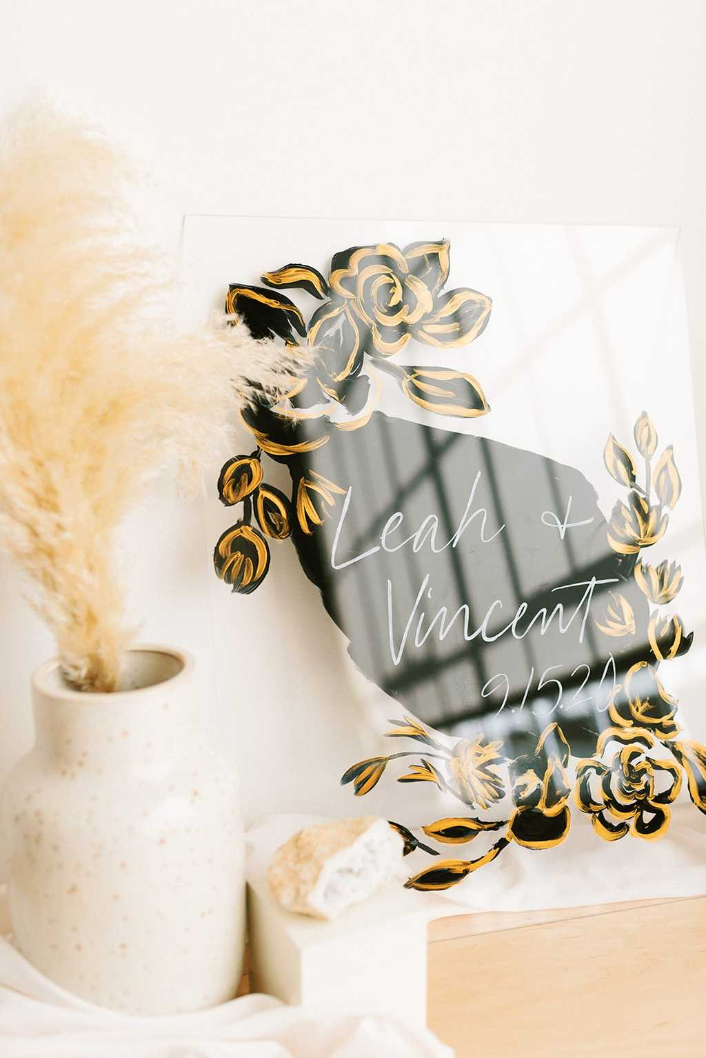 Painted Acrylic Wedding Welcome Sign by One and Only Paper