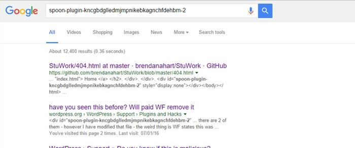 Screenshot of Spoon plugin google
