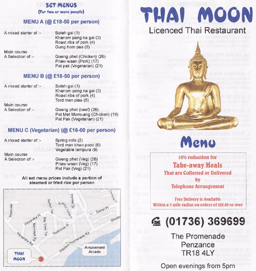 thai moon takeaway menu penzance