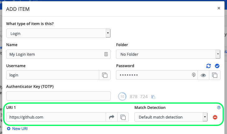 Login item URI fields in the Web Vault