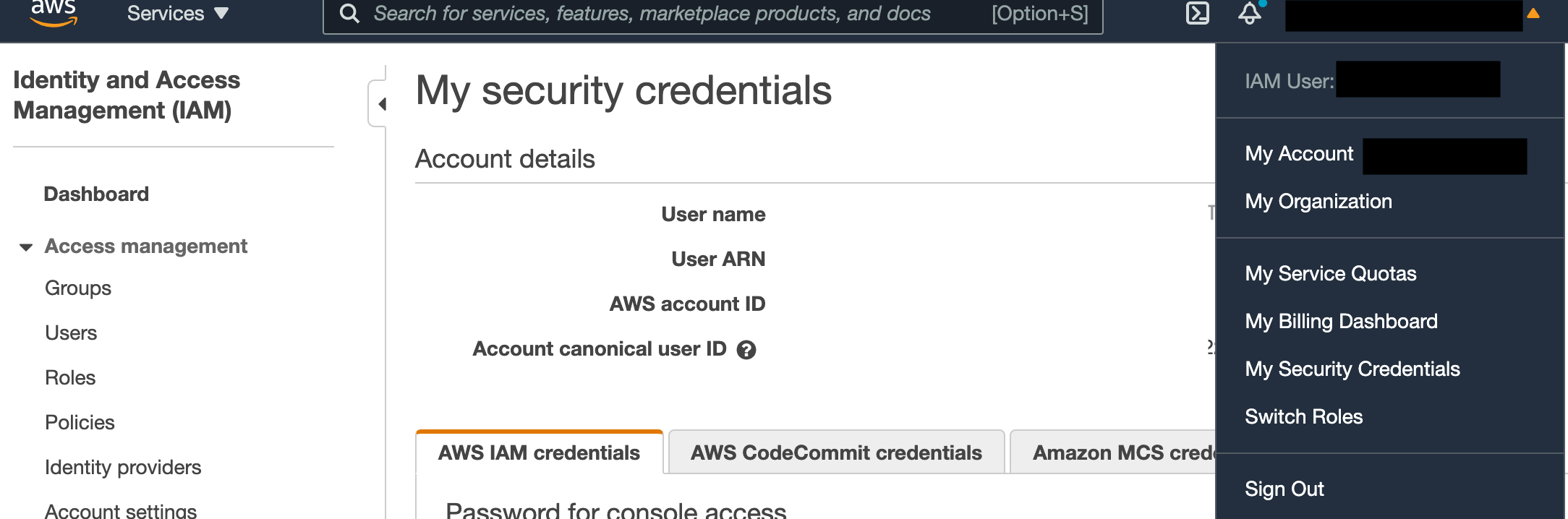 Screenshot of AWS site My Security Credentials page