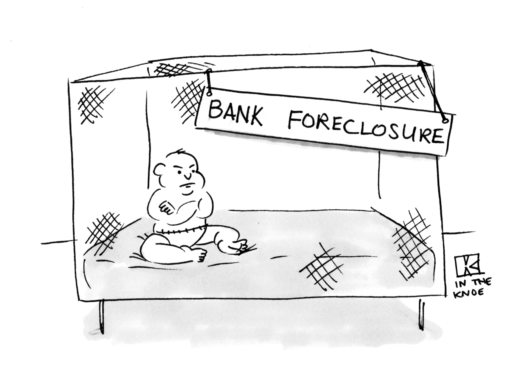 (Sign on baby's playpen reads: 'Bank Foreclosure.')
