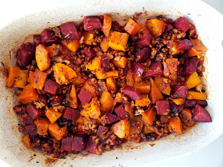 Cooked butternut squash and beet casserole