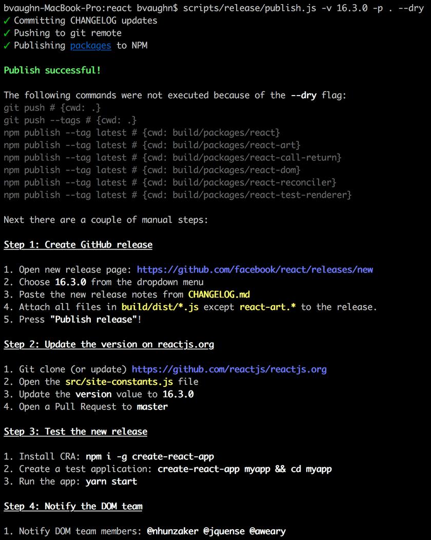 Release Script publish confirmation screen