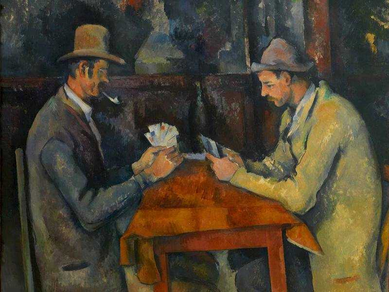 Cezanne painted five Card Players; these iconic images are slightly out of perspective--see the small heads and long arms on this version.