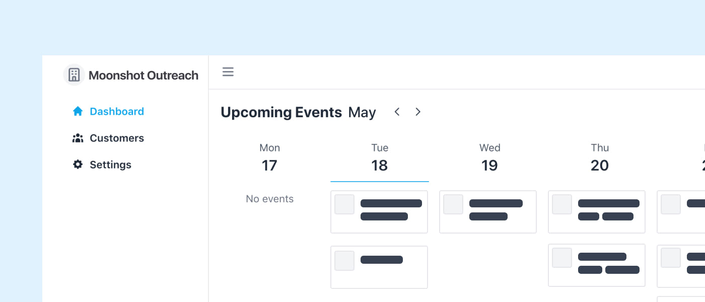 preview of the Seos dashboard, showing upcoming events